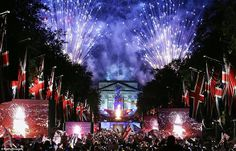 A riot of colour: Fireworks over Buckingham Palace mark the end of the Diamond Jubilee Concert at the Mall last night
