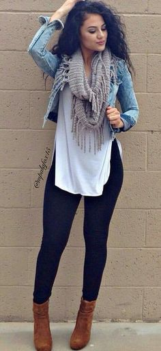 summer outfits  Denim Jacket   White Tank   Black Skinny Jeans   Brown Booties