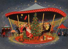 #1770 60s Mid Century Santa-Deer-Carousel-Vintage Christmas Card-Greeting | eBay