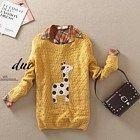 Yellow Cute Giraffe Pattern Sweater