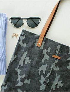 Denim Navy Camouflage Tote Bag - Metal Zipper Organizer Bag Present - Handmade Bag - Genuine Leather Handle - Shoulder Bag - Canvas Bag