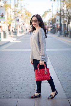 Tommy Hilfiger Sweater, J. Crew Jeans, J. Crew Tartan Loafers, Lady Dior Bag, Los Angeles Fashion Blogger, Winter Fashion Ideas