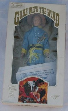 "Ashley Doll _ Gone With The Wind #71213 1989 12"" Portrait Doll By World Dolls From Turner Communications Ashley is wearing his blue Confederate uniform with sword and hat. the box includes display sta"