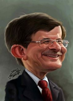 Ahmet Davutoğlu (Former Prime Minister of Turkey)  Caricature by Ahmed Wahid , from Egypt