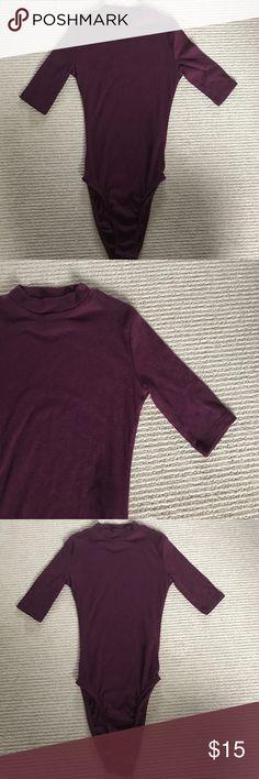 Burgundy bodysuit Never worn burgundy bodycon bodysuit. H&M Tops