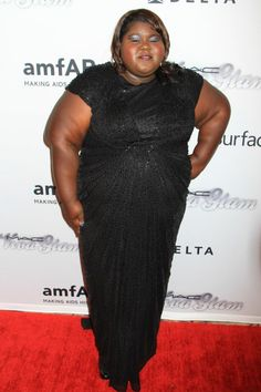 Gabourey Sidibe went for a black beaded gown with short sleeves.