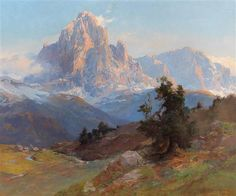 View A view of Mount Sassolungo by Edward Harrison Compton on artnet. Browse upcoming and past auction lots by Edward Harrison Compton. Reflection Art, Nature Drawing, Painted Boards, Mountain Paintings, Global Art, Mountain Landscape, Magazine Art, Art Market, Oil On Canvas