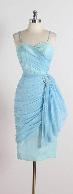 Vintage 1950s Blue Rhinestone Chiffon Dress