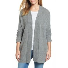 Women's Caslon Open Knit Cardigan (796.675 IDR) ❤ liked on Polyvore featuring tops, cardigans, olive, olive top, olive cardigan, open front tops, knit cardigan and army green cardigan