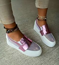 shoes white pink boat shoes white pink flatforms slip on shoes lilac mesh pink sneakers metallic platform shoes purple shoes metallic shoes Shoe Boots, Shoes Sandals, Shoes Sneakers, Heeled Boots, Boat Shoes, Cute Shoes, Me Too Shoes, Sneakers Fashion, Fashion Shoes