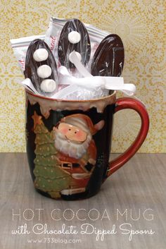 Hot Cocoa Mug with Chocolate Dipped Spoons