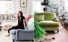 Sofia Coppola has the loveliest English roll arm Howard sofa, the perfect shade of blue.