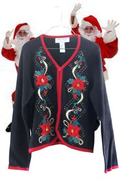 Ugly Christmas Sweater Cardigan Women Petite Large Sparkle Poinsettia Beaded #HeirloomCollectibles #Cardigan
