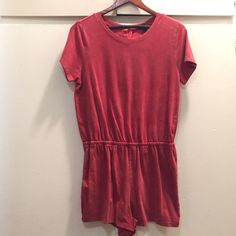 Jumpsuit short sleeves New with tags! Button up from the back! Red like rust. 95% cotton & 5% spandex Forever 21 Shorts