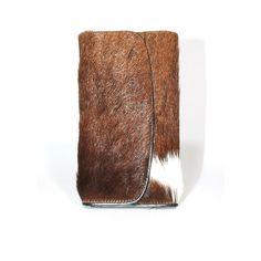 Handgemaakte portefeuille van koeienhuid en leer bruin/wit - www.fabstyle.nl