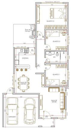 Projeto de casa térrea de 3 quartos com 115.00m²: