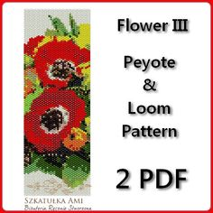 Flower III Loom and Peyote Pattern Beading - Tutorial PDF - instant download The pattern is designed based on using a loom and peyote stitch with Miyuki Delices Size 11 beads. Patterns also work well with seed beads. Thank you for taking the time to take a look at one of our patterns. All patterns have been created with great care so as to ensure excellent results. This pattern uses 20 colours and is approx. 5,13 cm 2,01in x 16,01 cm 6.3in Upon purchasing one of our patterns you will have…