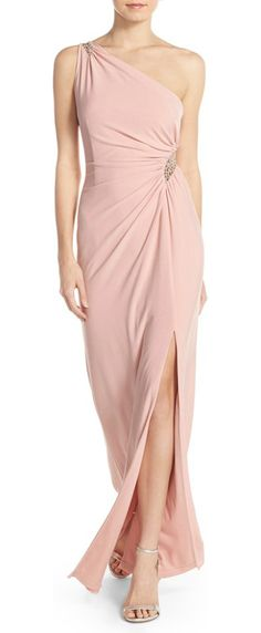 embellished one-shoulder jersey gown by Adrianna Papell. Dusty-pink jersey envelops this expertly draped and ruched evening gown that sculpts and flatters...