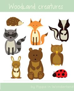 Woodland creatures clip art  8 images of by PrintableWonderland, £1.50