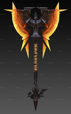 Fantasy axe, looks enchanted and the weight is at the top, meaning it's slower to move and swing and harder to control but if you land a hit it's gnna really hurt