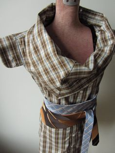 Repurposed Cowl Neck Boyfriend Tunic in Brown Plaid with Necktie Belt - reconstructed dress shirt - Upcycled Clothing Size Small Medium