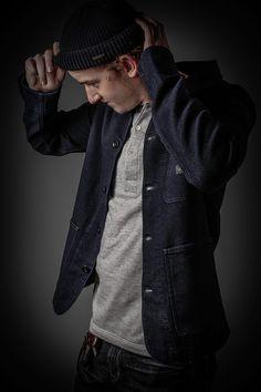 Union Jacket: Edwin indigo dyed japanese Fabric, Henley Shirt: Merz b. Schwanen made in Germany and 100% organic Cotton, Hat: Stetson 100% Merinowool at Newseum by Crämer&Co.