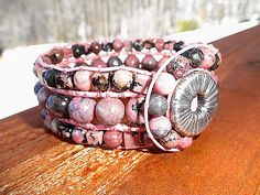 Rhodonite Rounds and Cubes 3 Row Leather Cuff | GemOnAWire - Jewelry on ArtFire