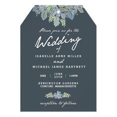 Succulent Wedding Invitations Pretty Blooms Vintage Gardens Wedding Invitation