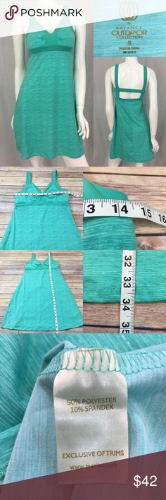 Size Small Marika Teal Empire Waist V-Neck Dress • Measurements are in photos  • Material tag is in photos • Normal wash wear, no flaws • Cut our back  • The Balance Outdoor Collection  • Stretch  C1/65  Thank you for shopping my closet! Marika Dresses Mini