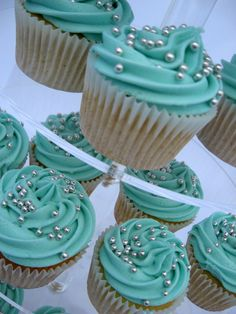 Vanilla Buttermilk Cupcakes with Turquoise Frosting & Silver Balls