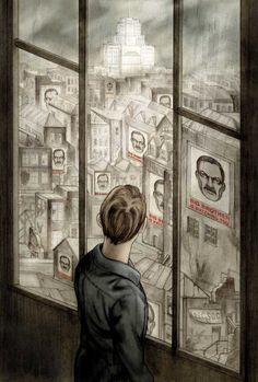 """Ilustrações retratam a agonia do livro """"1984"""""""