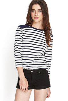 Striped Crew Neck Top - Tops - Blouses & Shirts - Long Sleeves - 2000083675 - Forever 21 UK