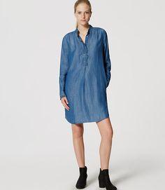 Image of Petite Chambray Ruffle Shirtdress