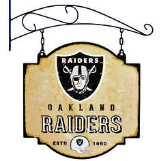 """This 16"""" x 16"""" metal sign is printed on both sides with Oakland Raiders logos and has been made to look like an old fashioned tavern sign. It comes with a bracket that allows the sign to be hung, or you can ignore the bracket and affix the sign directly to a wall."""