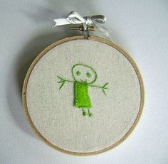 Child's Drawing Embroidered Hoop Art