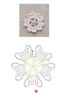 Crochet flower, with charted pattern