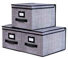 Onlyeasy Collapsible Storage Bins Pack of 3 - Foldable Storage Box Containers Organizer with Dust-Proof Lids and Strong Handles, Large, Black, Cube Storage Shelves, Decorative Storage Bins, Bookcase Organization, Shelf Bins, Fabric Storage Boxes, Storage Boxes With Lids, Bag Storage, Decorative Boxes, Closet Storage Systems