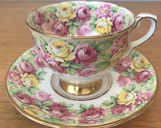 "Royal Stafford ""Rosanne"" Vintage Teacup and Saucer, Yellow and Pink Rose Tea Cup and Saucer, English Bone China, Garden Tea Party Tea Cup Set, My Cup Of Tea, Tea Cup Saucer, China Cups And Saucers, China Tea Cups, Victorian Tea Sets, Silver Tea Set, Royal Stafford, Vintage Cups"