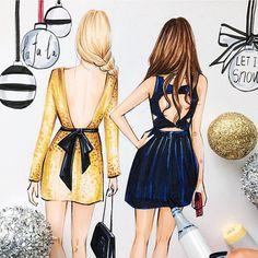 Gossip girl inspired fashion illustration by Houston fashion illustrator…