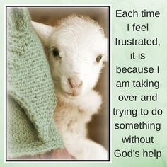 Each time I feel frustrated, it is because I am taking over and trying to do something without God's help