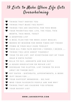 19 Lists to Make When Life Gets Overwhelming free printable (scheduled via http://www.tailwindapp.com?utm_source=pinterest&utm_medium=twpin&utm_content=post130532597&utm_campaign=scheduler_attribution)