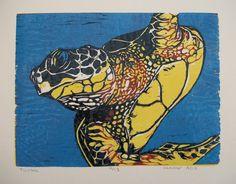Turtle Reduction Wood Block Print. $140.00, via Etsy.
