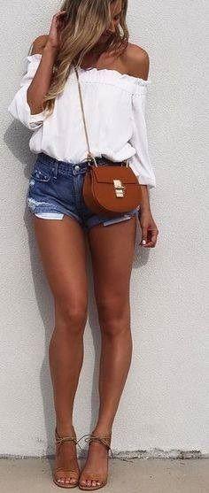 White Off The Shoulder Top + Denim Shorts