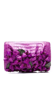 Magenta Bougainvillea Clutch by Nancy Gonzalez Spring-Summer Tuba TANIK Purple Shoes, Purple Bags, Purple Purse, Shades Of Purple, Magenta, Purple Handbags, Floral Clutches, Nancy Gonzalez, All Things Purple