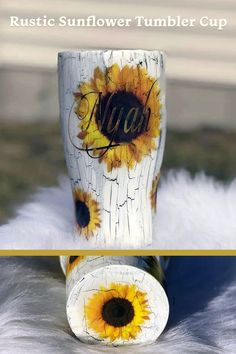 Sunflower theme tumbler cup personalized with your name. Great as bridesmaids gifts or rustic cups for the wedding party. Learn more or buy in the My Online Wedding Help products section. Diy Tumblers, Personalized Tumblers, Custom Tumblers, Personalized Products, Photo Frame Prop, Cute Cups, Glitter Cups, Tumbler Designs, Gifts For Wedding Party