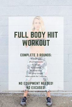 HIIT workout that can be completed at home with no equipment! HIIT workout that can be completed at home with no equipment! Pilates Workout Routine, Fitness Workouts, Circuit Fitness, Full Body Hiit Workout, Hitt Workout, Hiit Workout At Home, Home Exercise Routines, Yoga Routine, At Home Workouts