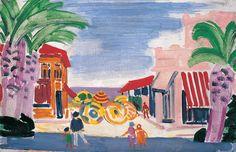 János Vaszary Seaside with Palm Trees (French Rivièra), second half of Painter, Postcard, Image, Painting, Seaside, Art, Wind