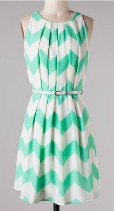 Belted Mint Chevron Dress