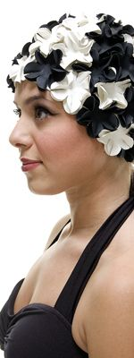 need this to protect my hair color haha Retro Vintage 1950's Style Black & White Floral Petal Swimcap - Unique Vintage - Homecoming Dresses, Pinup & Prom Dresses.