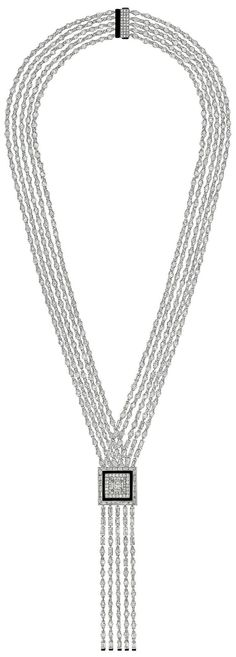 """""""Charleston"""" necklace from the Chanel fine jewelry collection, CafeSociety--18K white gold set with diamonds and carved onyx - July 2014"""